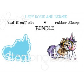 "I SPY ROSIE and BERNIE RUBBER STAMP + ""CUT IT OUT"" DIE BUNDLE(save 15%)"